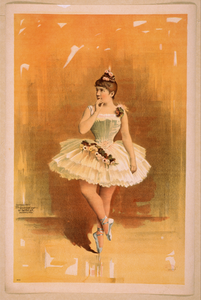 [ballerina In White Costume With Flowers In Dance Pose] Image