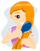 Girl Combing Her Hair Clipart Image