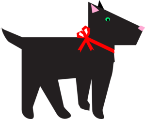 Dog With Red Bow Clip Art