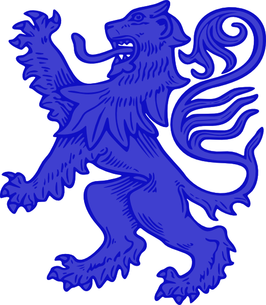 White lion with blue background logo - photo#36