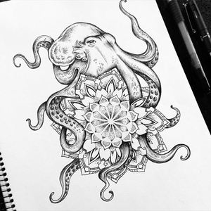 Octopus Drawing Tattoo Image