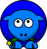 Sheep Blue Two Toned Looking Up Clip Art