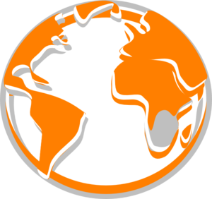 Orange  Grey Globe  Clip Art