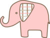 Pink Plaid Elephant Clip Art