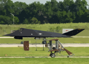 A Wright B Flyer Replica Taxis Past A United States Air Force F-117a Stealth Fighter During The U.s. Air And Trade Show. Clip Art
