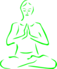 Green Meditating Silohette Clip Art