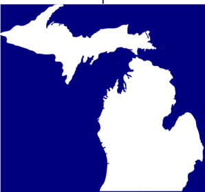 Michigan, Solid White, Blue Background Clip Art