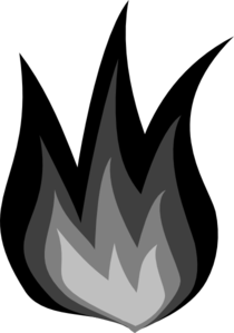 Grayscale Flames Clip Art
