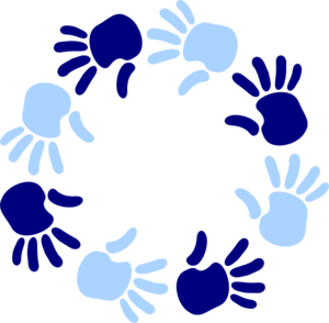 Blue Circle Of Hands Clip Art