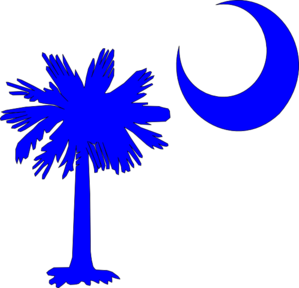 Sc Palmetto Tree Blue Right Side Moon Clip Art
