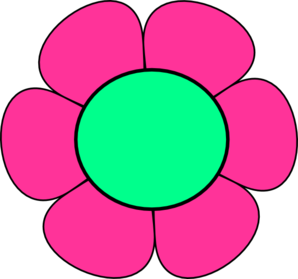 Pink And Green Flower Clip Art