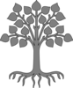 Tree With Roots/gray Clip Art