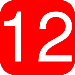 Red, Rounded, Square With Number 12 Clip Art