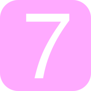 Pink, Rounded, Square With Number 7 Clip Art