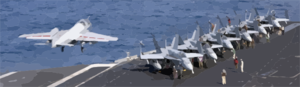 An Ea-6b Launches From Uss Harry S. Truman. Clip Art