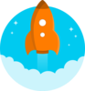 Orange Space Rocket Clip Art