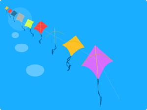 Kites In A Line Clip Art