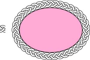 Pink Oval With White Braided Band Clip Art