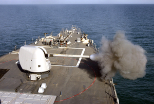 Uss Carney Fires Her Five-inch Gun During A Gun Exercise In The Northern Arabian Gulf. Image