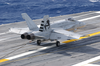 An F/a-18 Hornet From The Salty Dogs Of Air Test And Evaluation Squadron Two Three (vx-23), Makes The First Trap. Image