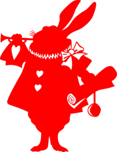 Red Rabbit Silhouette From Alice Clip Art