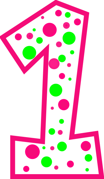 Number 1 Pink And Green Polkadot(r) Clip Art at Clker.com ...