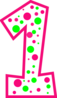 Number 1 Pink And Green Polkadot(r) Clip Art