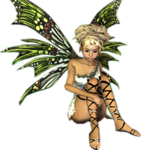 Fantasy Fairy Blonde Sitting Green Wings Image