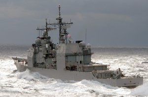 Uss Cowpens (cg 63) Approaches Kitty Hawk During A Replenishment At Sea (ras) Evolution Image
