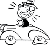 Car With Flat Tire Clipart Image