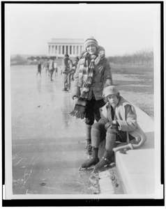[abbey Jackson, Seated, And Celene Dupuy Ice Skating On Reflecting Pool, With Lincoln Memorial In Background] Image