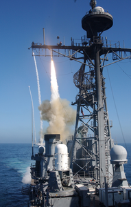 Uss Bunker Hill Fires Sm-2 Surface-to-air Missile Image