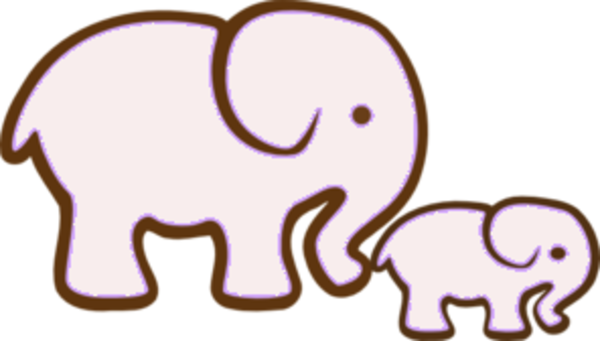 Elephant Mother and Baby Silhouette Sticker Decal Graphic ...   Mom And Baby Elephant Outline