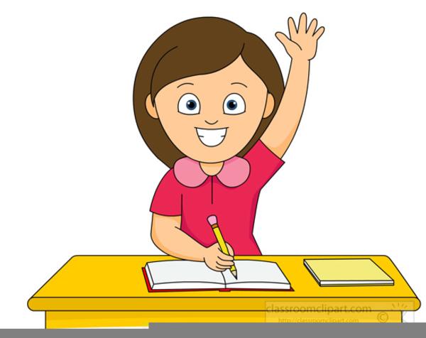Student hand raised clipart