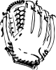 Baseball Glove (b And W) Clip Art