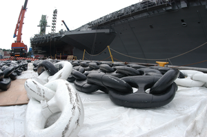 Anchor Chains For Uss Kitty Hawk (cv 63) Sit On The Dock Waiting To Be Hoisted Back Aboard The Ship Image