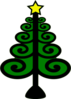 Christmas Tree With Swirls Clip Art