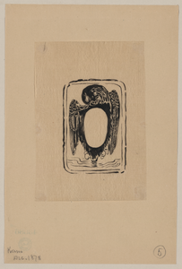 Bird Crest Or Bookplate With Opening For Text Or Portrait Image