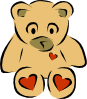Stylized Teddy Bear With Hearts Clip Art