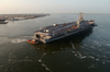 Uss Harry S. Truman (cvn 75) Pulls Away From Pier 14 South Of Naval Station Norfolk (nob) For Her Transit To The Norfolk Navy Shipyard Image