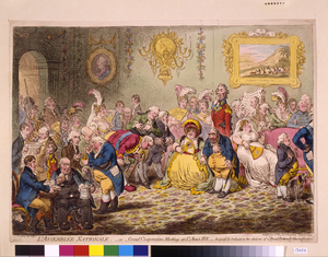 L Assemblée Nationale: - Or - Grand Co-operation Meeting At St. Ann S Hill. Respectfully Dedicated To The Admirers Of  A Broad-bottom D Administration   / Js. Gillray, Invt. & Fect. Image