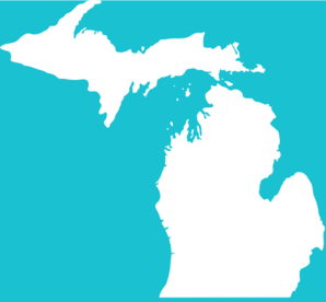 White Michigan On Teal Clip Art
