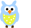 Blue Owl And Dots Clip Art