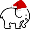 White Elephant With Santa Hat Clip Art