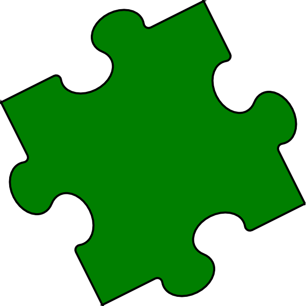 Puzzle piece small. Green clip art at