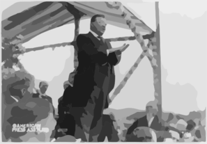 [theodore Roosevelt, Full Length Portrait, Turned Right,  Standing Above Crowd He Is Addressing] Clip Art