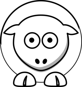 Sheep - White On White Clip Art