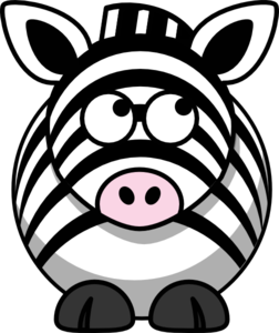 Zebra Looking Right-up Clip Art
