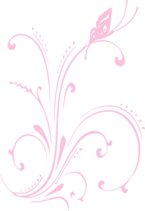 Carnation Butterfly Scroll Clip Art