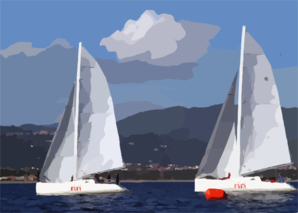 The U.s. Sailing Team Jockeys For Position And Tries To Find The Best Wind During The 6th Race Of The 3rd World Military Games Sailing Competition. Clip Art